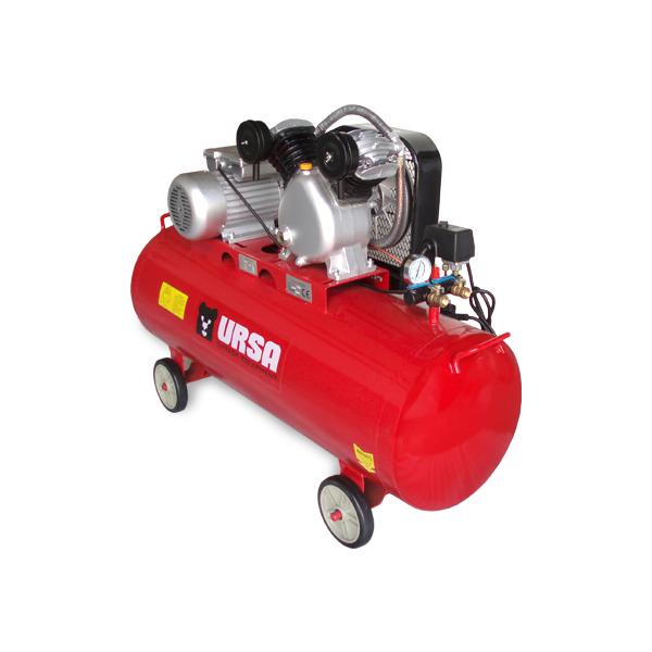 """Компресор за сгъстен въздух с марка URSA. Дву цилидрова V-образна помпа с ниско ниво на шума и висока производителност. С четири колела за по - лесно преместване в помещението.       Мощност на двигателя: 2.2kW   Обем на резервоара: 150L   Захранващо напрежение: 220V/50Hz   Дебит: 310l/min   Работно налягане: 10bar ( може да бъде повишено )   Изходи: 2бр. Х 1/2"""""""